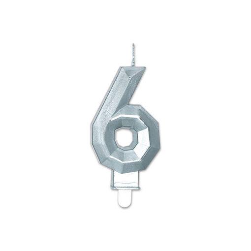 Candelina Diamant Argento Metal 9 cm numero 6