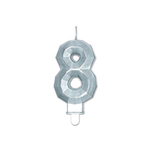 Candelina Diamant Argento Metal 9 cm numero 8