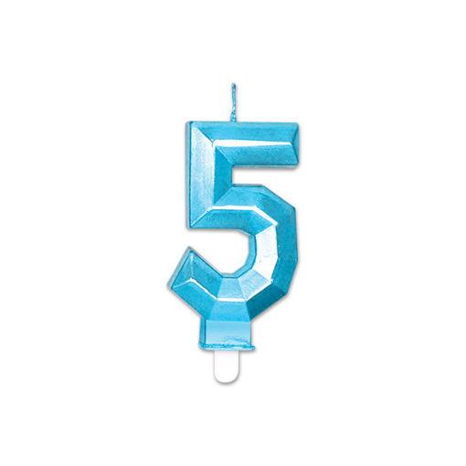 Candelina Diamant Blu Metal 9 cm numero 5