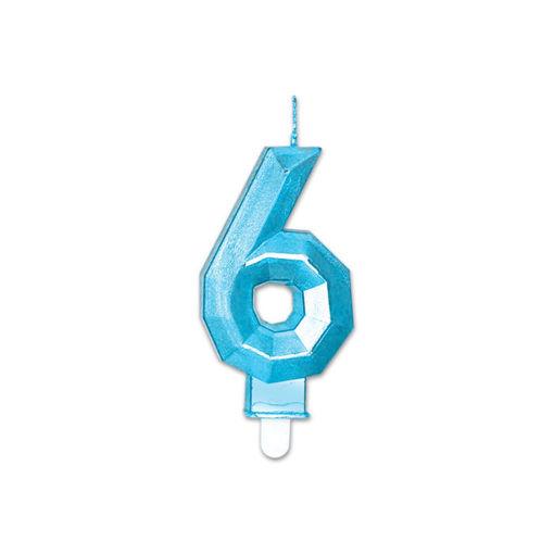 Candelina Diamant Blu Metal 9 cm numero 6