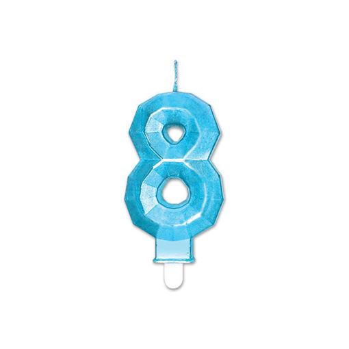 Candelina Diamant Blu Metal 9 cm numero 8