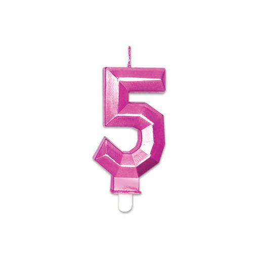 Candelina Diamant Fucsia Metal 9 cm numero 5