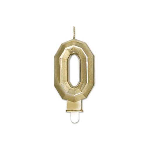 Candelina Diamant Oro Metal 9 cm numero 0