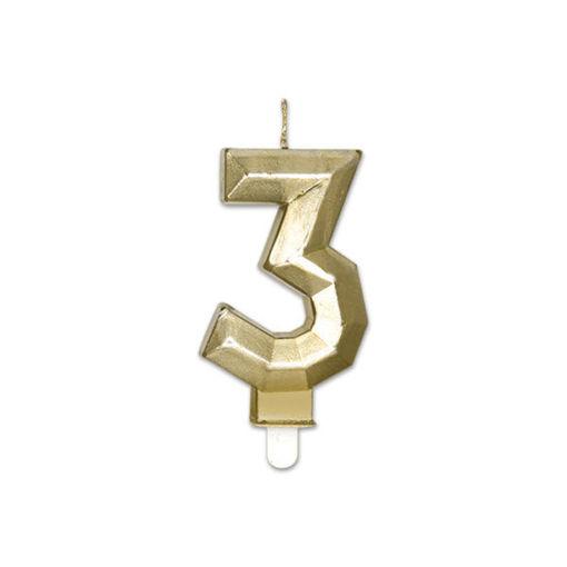 Candelina Diamant Oro Metal 9 cm numero 3