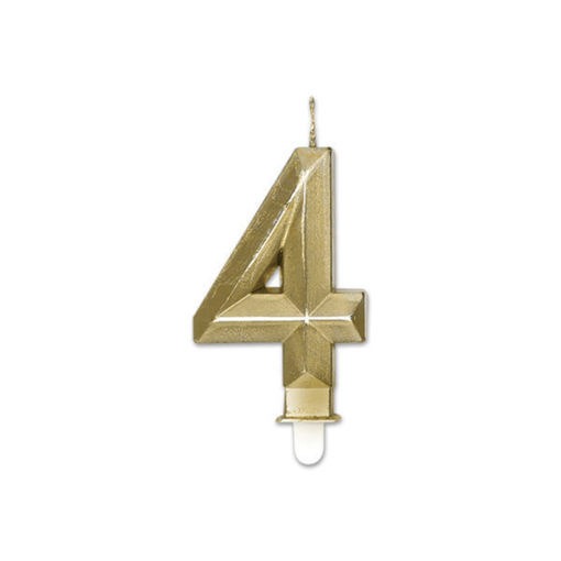 Candelina Diamant Oro Metal 9 cm numero 4