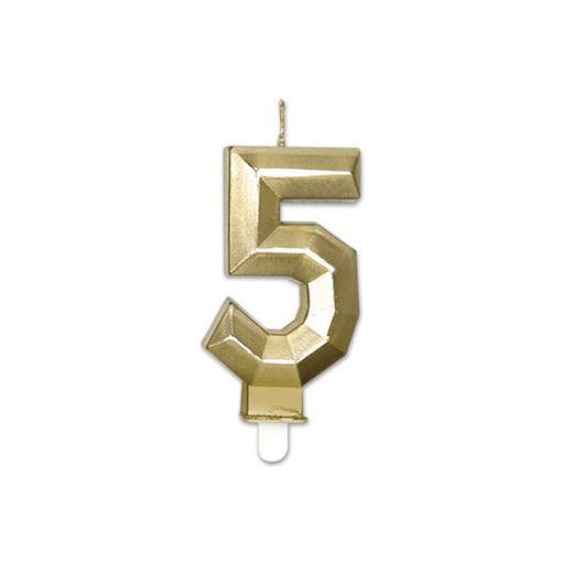 Candelina Diamant Oro Metal 9 cm numero 5