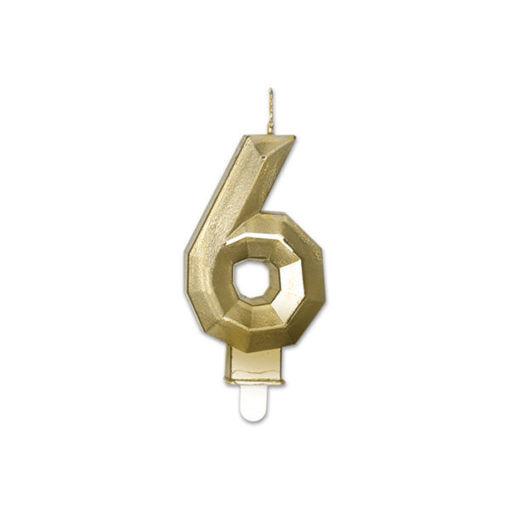 Candelina Diamant Oro Metal 9 cm numero 6