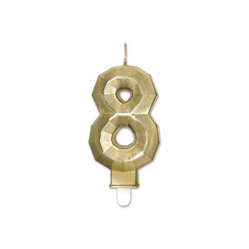 Candelina Diamant Oro Metal 9 cm numero 8