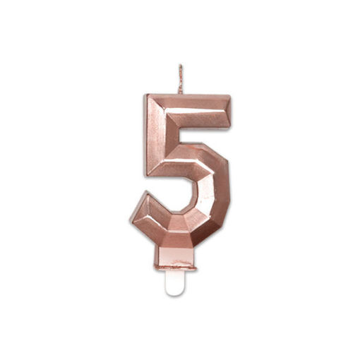 Candelina Diamant Rosa Gold Metal 9 cm numero 5