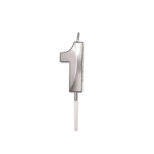 Candelina Prestige Argento Metal 9 cm numero 1