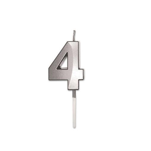Candelina Prestige Argento Metal 9 cm numero 4