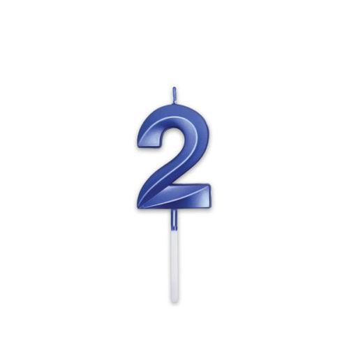 Candelina Prestige Blu Metal 9 cm numero 2
