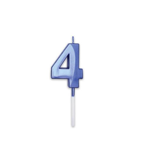 Candelina Prestige Blu Metal 9 cm numero 4