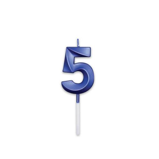 Candelina Prestige Blu Metal 9 cm numero 5