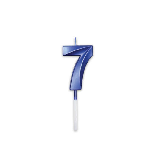 Candelina Prestige Blu Metal 9 cm numero 7