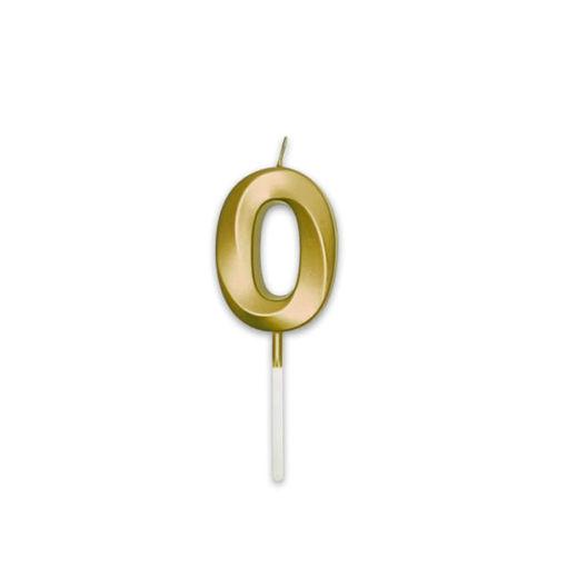 Candelina Prestige Oro Metal 9 cm numero 0