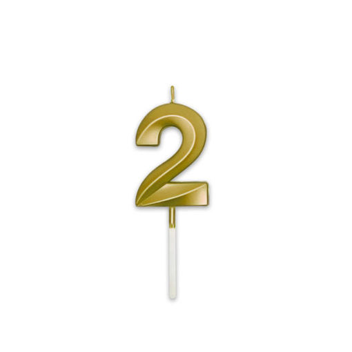 Candelina Prestige Oro Metal 9 cm numero 2