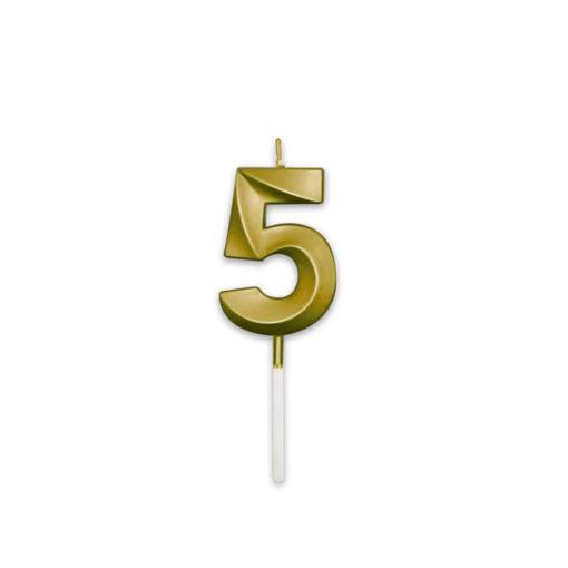 Candelina Prestige Oro Metal 9 cm numero 5