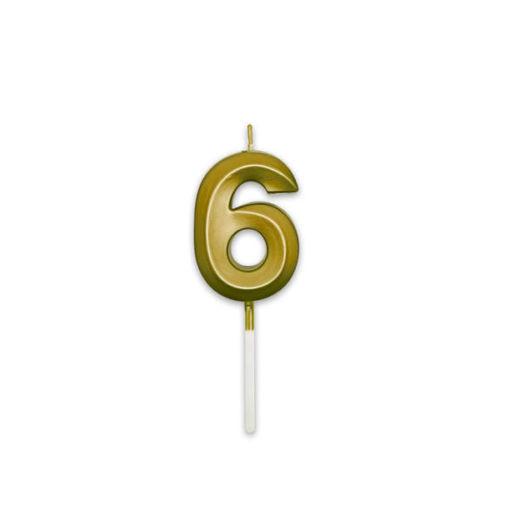 Candelina Prestige Oro Metal 9 cm numero 6