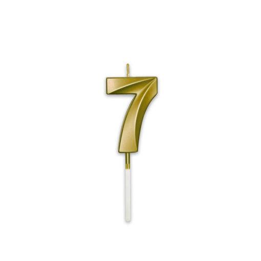 Candelina Prestige Oro Metal 9 cm numero 7