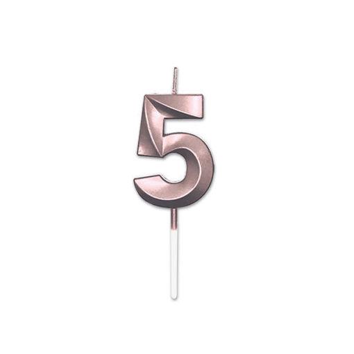Candelina Prestige Rose Gold Metal 9 cm numero 5