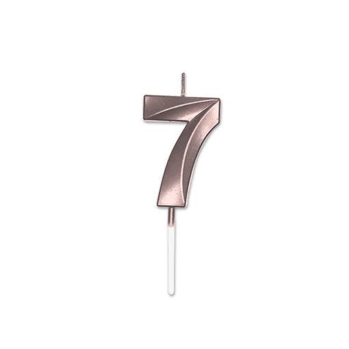 Candelina Prestige Rose Gold Metal 9 cm numero 7