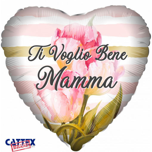 Palloncino Mylar 18'' 45 cm forma cuore Ti voglio bene Mamma