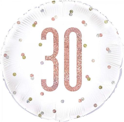 Palloncino Mylar 18'' 45 cm Bianco con numero 30 Rosa Gold