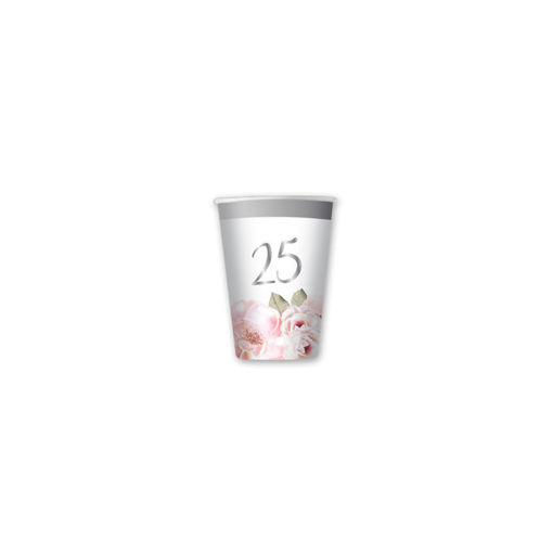 Bicchieri in carta 80 cc 25° Anniversario Floral 8 pezzi