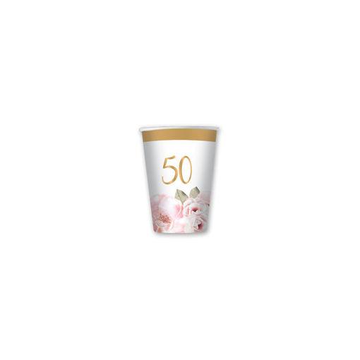 Bicchieri in carta 80 cc 50° Anniversario Floral 8 pezzi