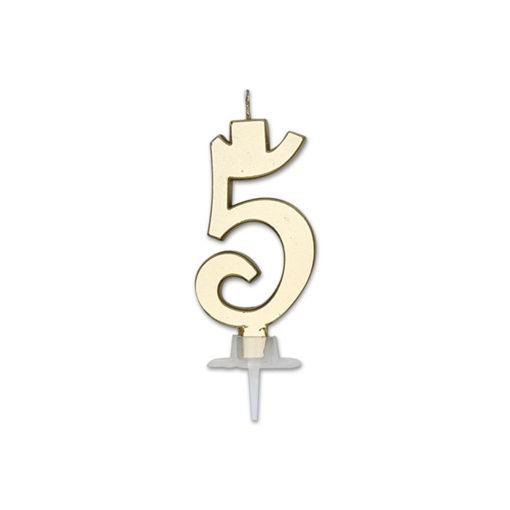 Candela Italic Metal Oro numero 5