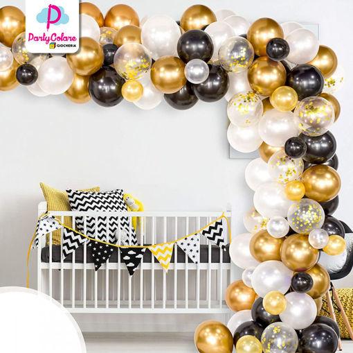 Set 110 palloncini Oro Bianco e Nero
