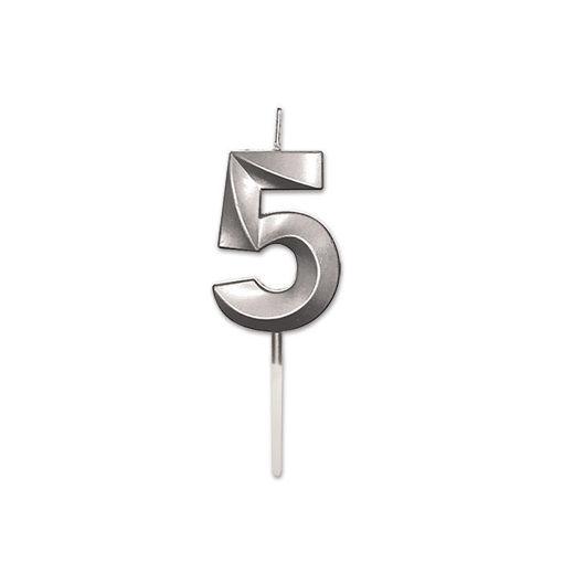 Candelina Prestige Argento Metal 9 cm numero 5