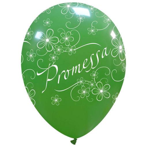 Palloncino in lattice 12'' verdi con stampa Promessa 100 pezzi