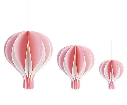 Set 3 Mongolfiere Rosa da Appendere