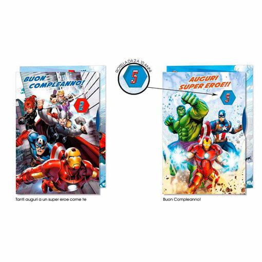 Biglietto Auguri Avengers con rotella - modelli assortiti