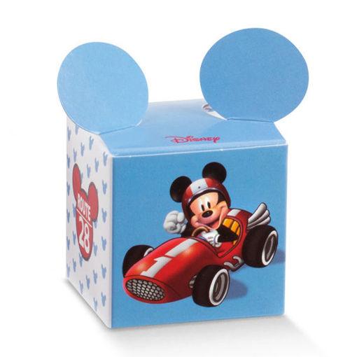 Immagine di Scatola portaconfetti Cubo azzurro Mickey Mouse 5x5x5 cm 10 pezzi