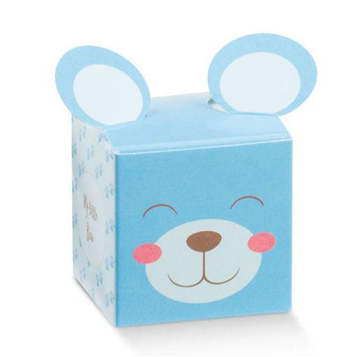 Immagine di Scatola portaconfetti Cubo Pon Pon Azzurro 5x5x5 cm 10 pezzi