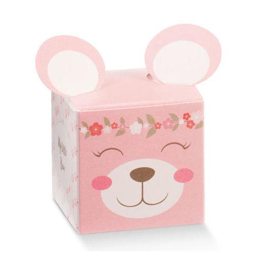 Immagine di Scatola portaconfetti Cubo Pon Pon Rosa 5x5x5 cm 10 pezzi