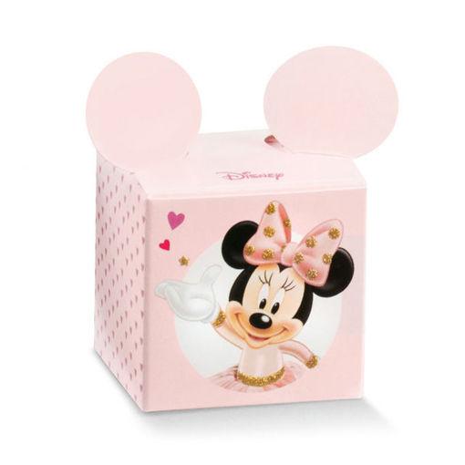 Immagine di Scatola portaconfetti Cubo rosa Minnie Ballerina 5x5x5 cm 10 pezzi
