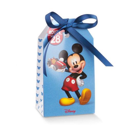 Immagine di Scatola portaconfetti Tag azzurro Mickey Mouse 5,5x3,5x10 cm 10 pezzi