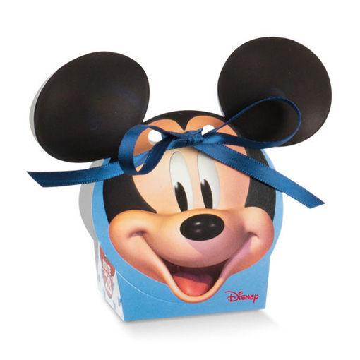 Immagine di Scatola portaconfetti Volto azzurro Mickey Mouse 5,5x4x10,5 cm 10 pezzi