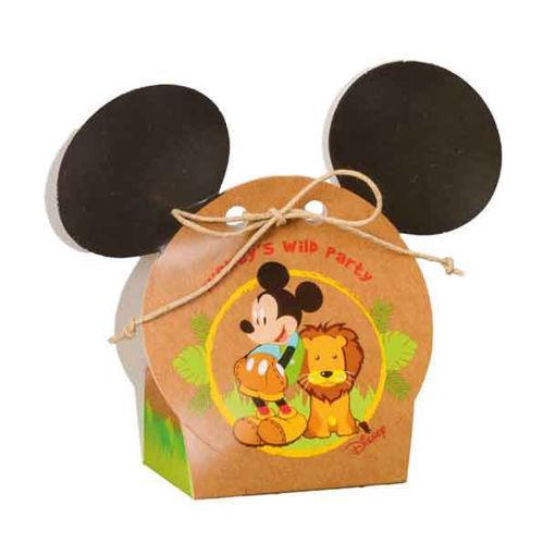 Immagine di Scatola portaconfetti Volto Mickey Mouse Savana 5,5x4x10,5 cm 10 pezzi