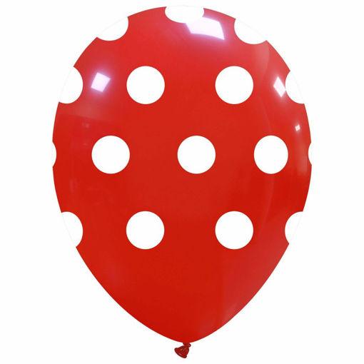 Palloncini in lattice 12'' 30 cm Rosso con pois bianchi 100 pezzi