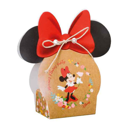 Immagine di Scatola portaconfetti Volto Minnie Flower 5,5x4x10,5 cm 10 pezzi