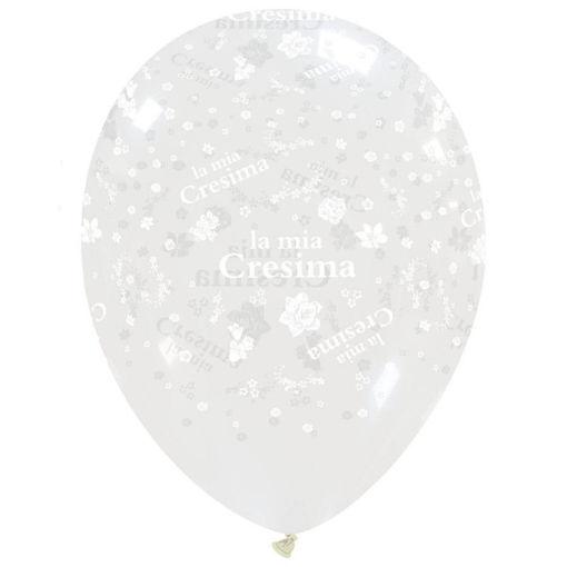 Palloncini in Lattice Trasparenti con stampa Cresima 100 pezzi