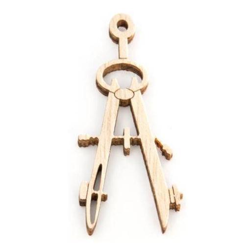 Applique Laurea Compasso in legno altezza 5 cm 24 pezzi