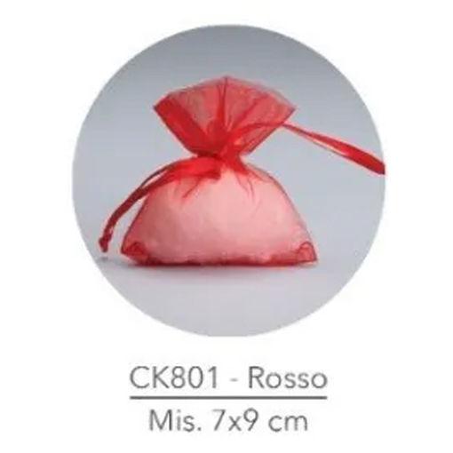 Sacchetto portaconfetti in Organza 7x9 cm Rosso 50 pezzi