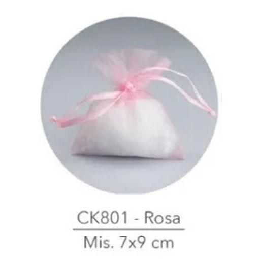 Sacchetto portaconfetti in Organza 7x9 cm Rosa 50 pezzi