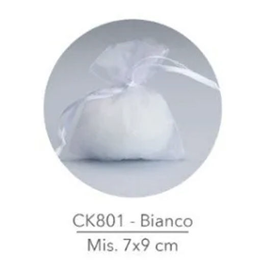 Sacchetto portaconfetti in Organza 7x9 cm Bianco 50 pezzi